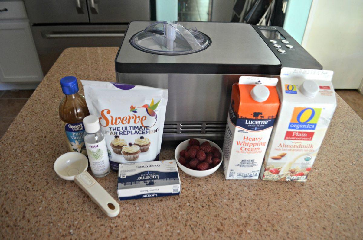 raspberry cheesecake keto ice cream – ingredients