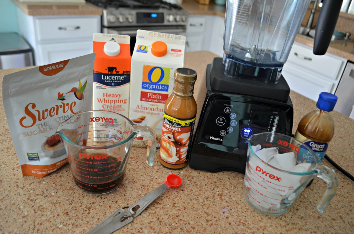 Keto Starbucks Vanilla Caramel Frappuccino recipe – in the blender – ingredients on the counter