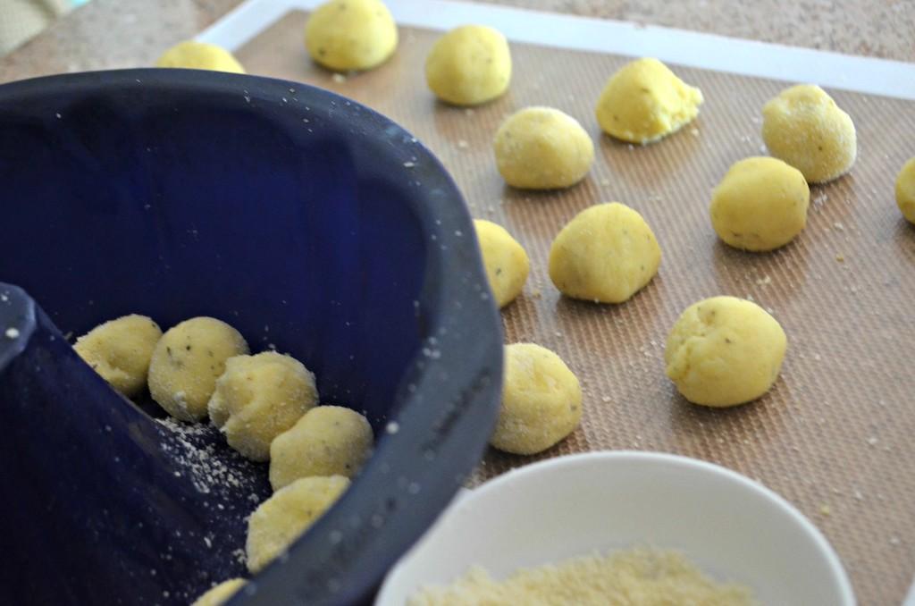 putting keto pizza rolls in bundt pan