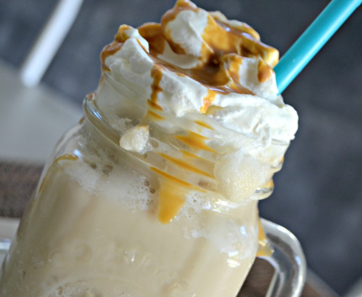 Keto Starbucks Vanilla Caramel Frappuccino recipe – served with a straw