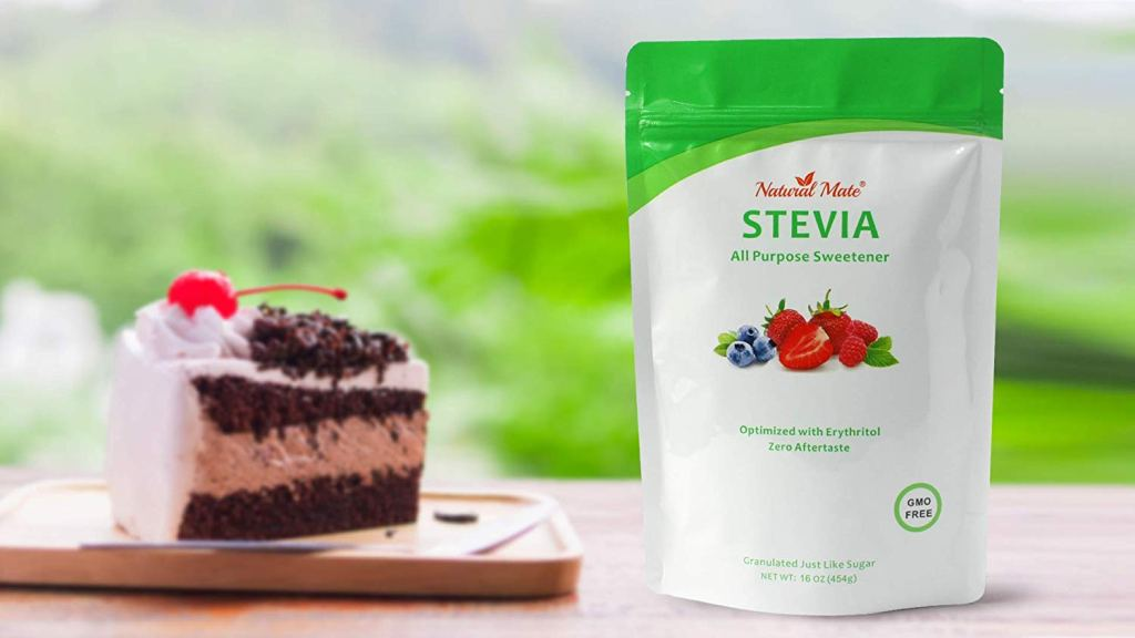 natural mate stevia with chocolate cake