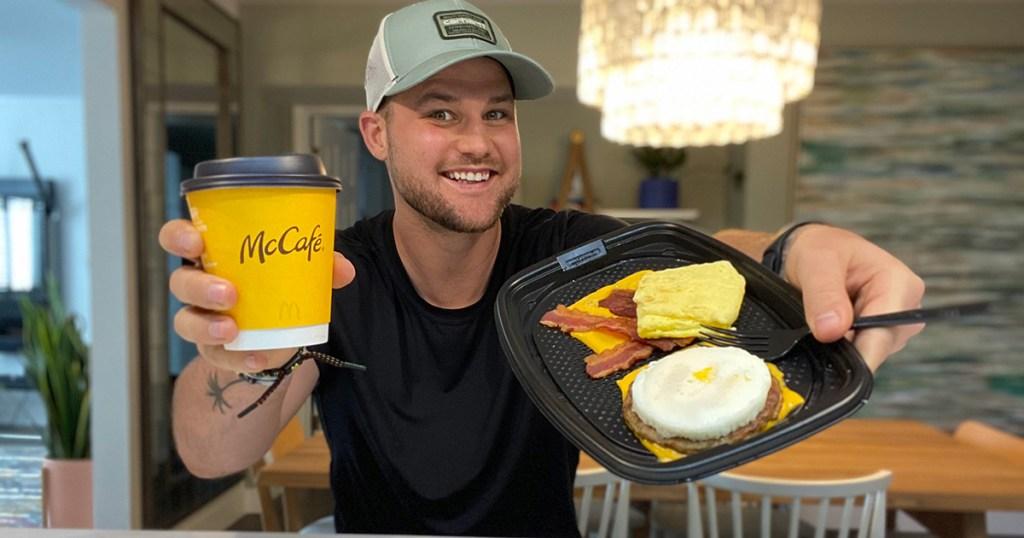 man holding mcdonalds keto menu items
