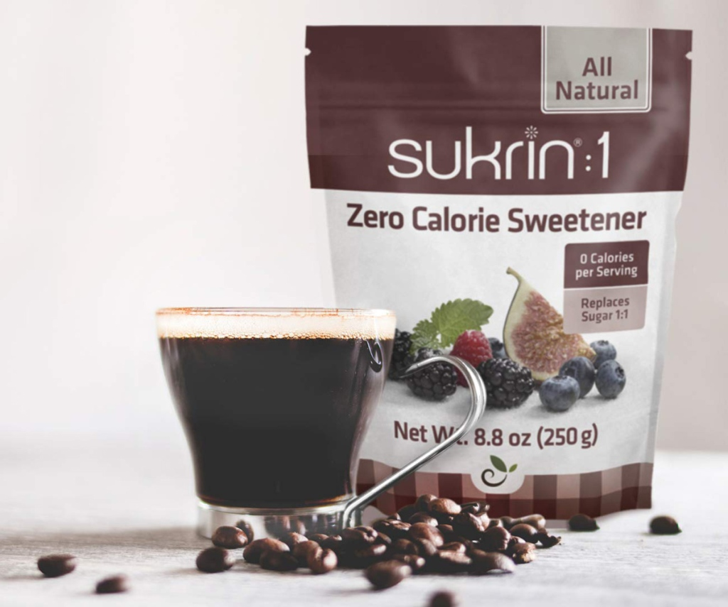 bag of sukrin sweetener with coffee cup