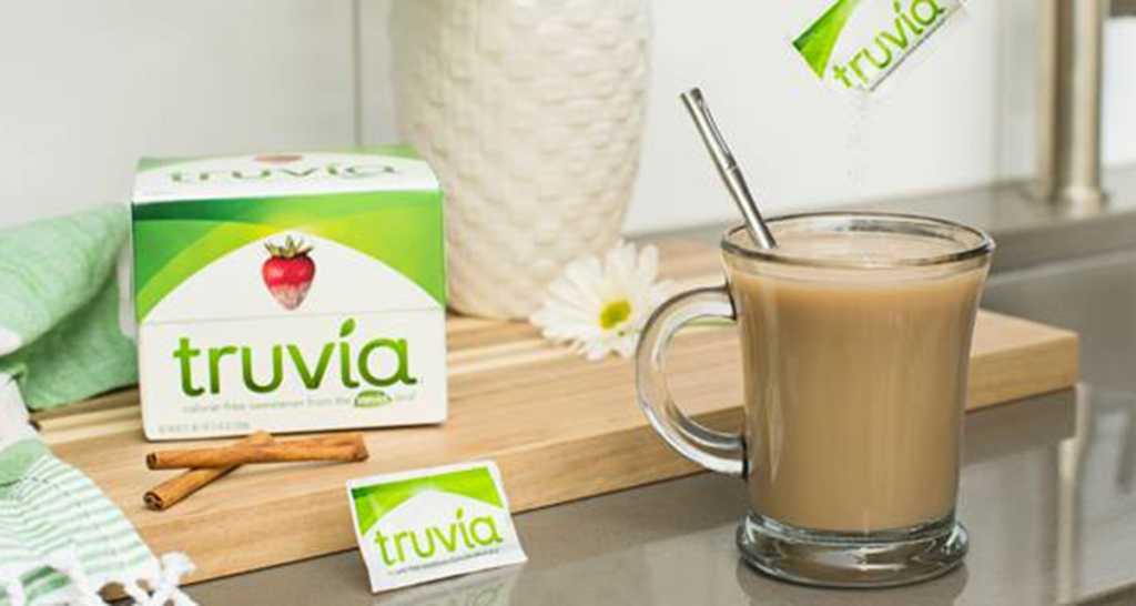 truvia sweetener on table with coffee
