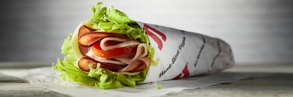 Jimmy John's Unwich with lettuce and meat wrapped up