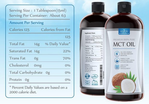 amazon deal anjou premium mct oil – nutritional label closeup