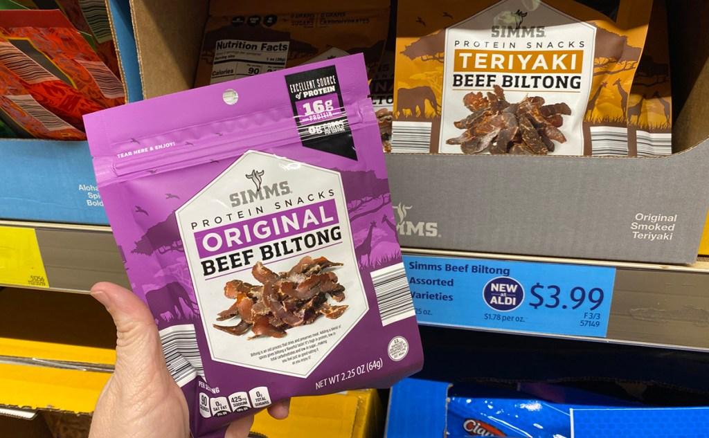 Beef Biltong on shelf at Aldi