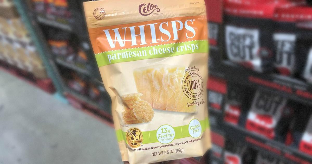 b86c67080bc22 Cello whisps cheese crisps - closeup of the bag at Costco