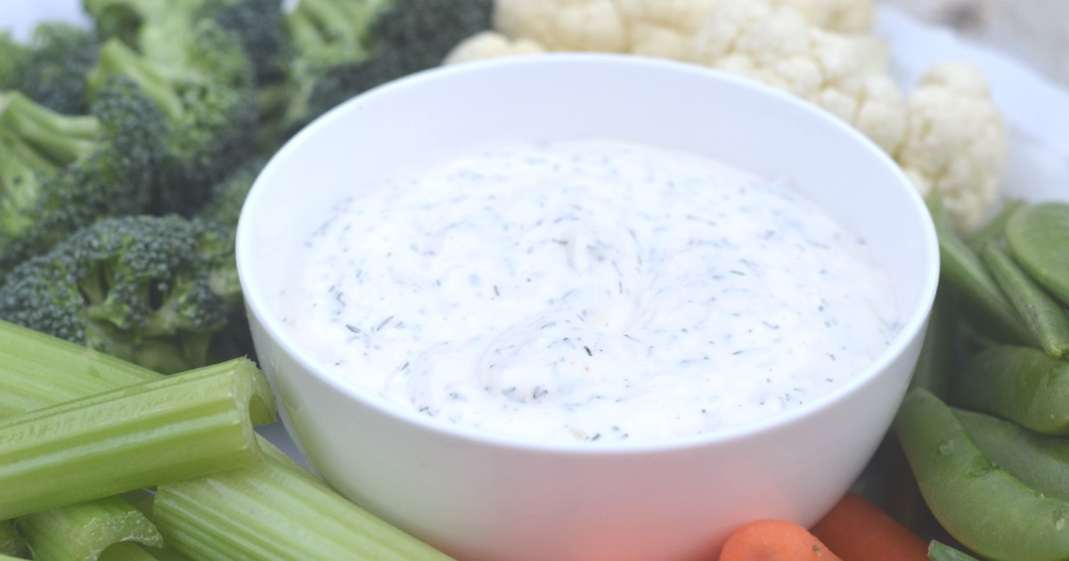 keto dill dip in a bowl made from scratch