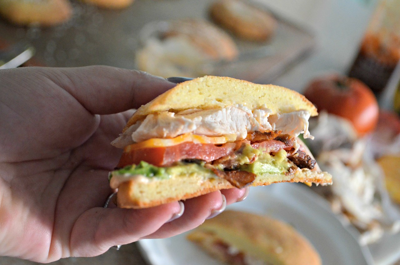 chicken bacon avocado sandwich on a keto roll – Closeup of the sandwich