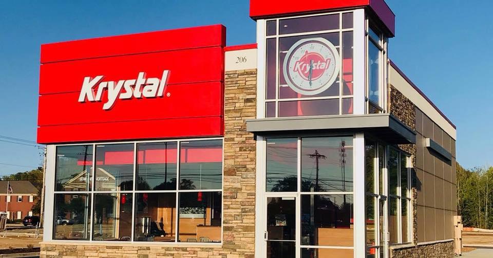 Krystal Low Carb breakfast Scramblers - Krystal restaurant storefront pictured