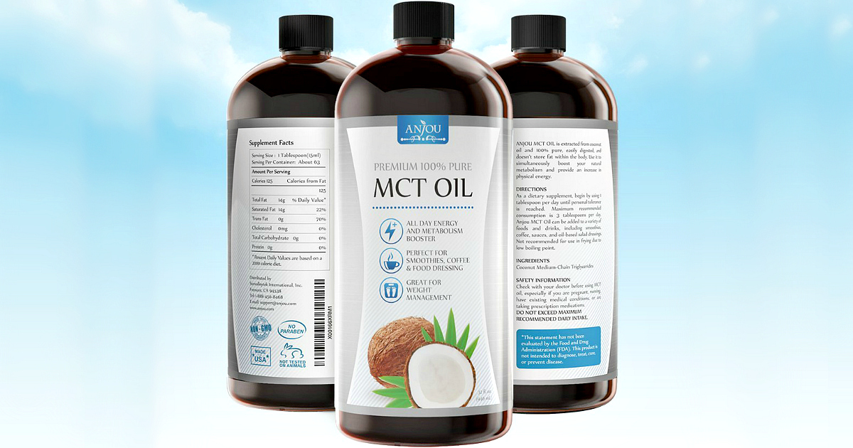 Amazon deal anjou premium mct oil is perfect for the keto diet. Bottles of MCT oil.