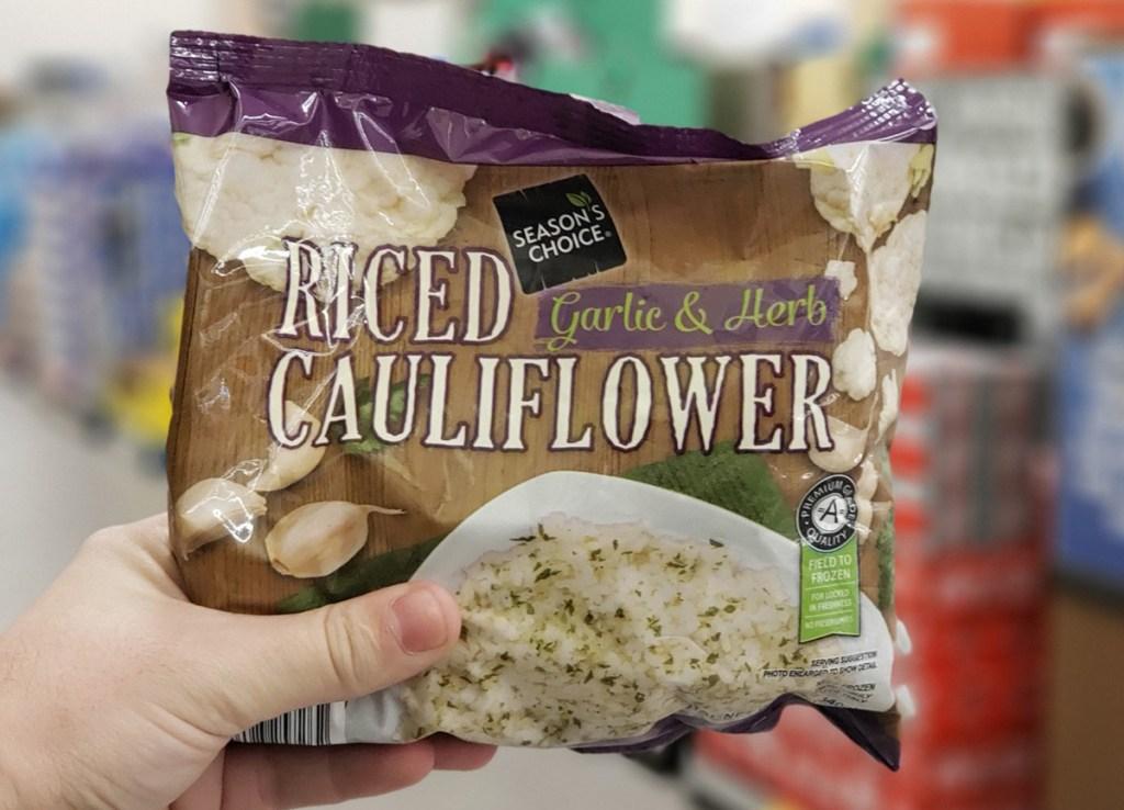 best keto finds at aldi includes riced cauliflower