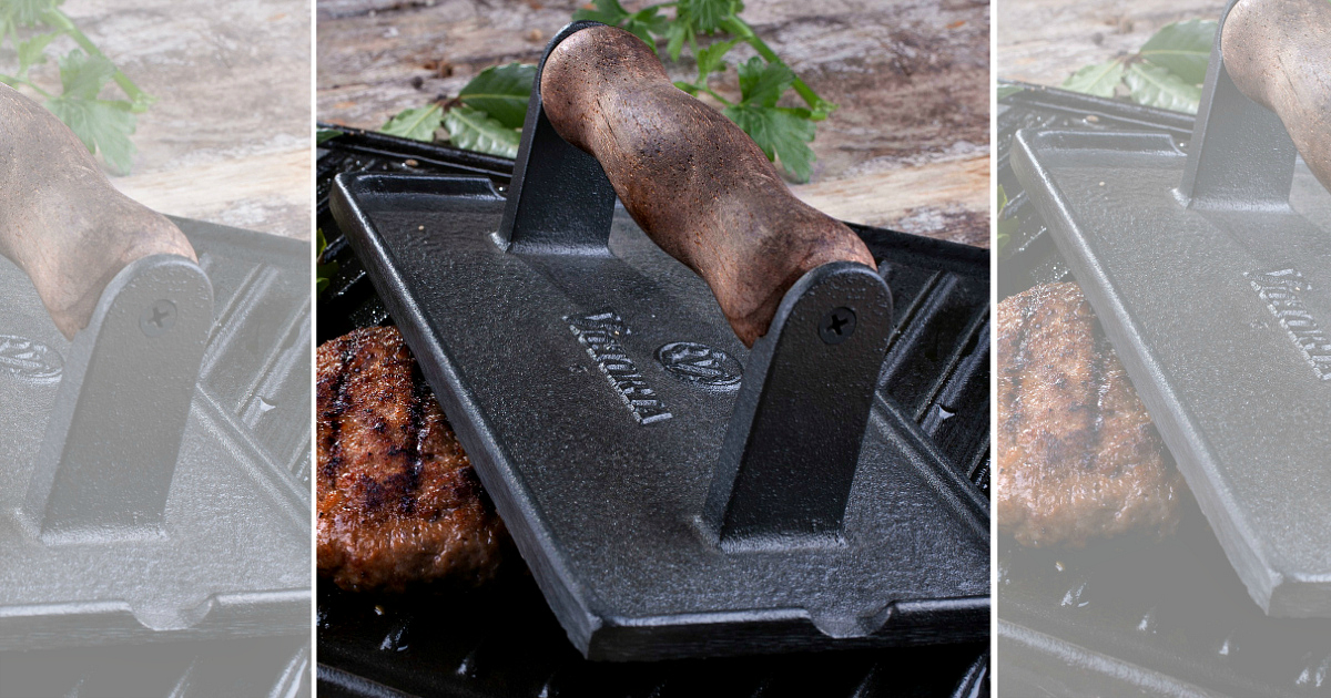 This Victoria cast iron bacon press is a reduced price Macy's deal