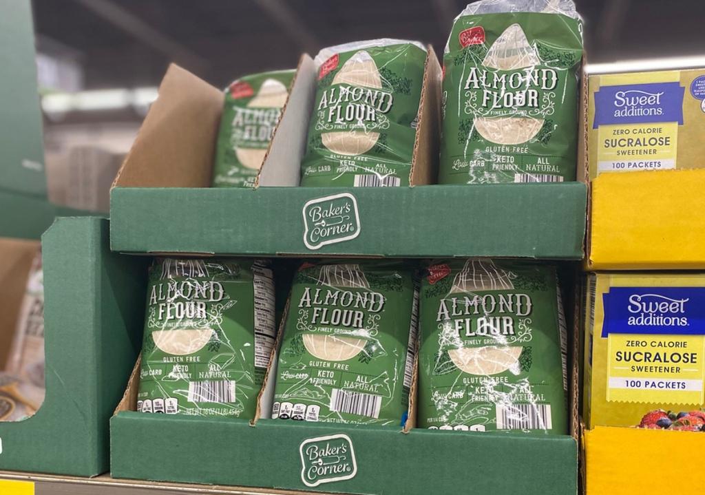 aldi almond flour sitting on shelf