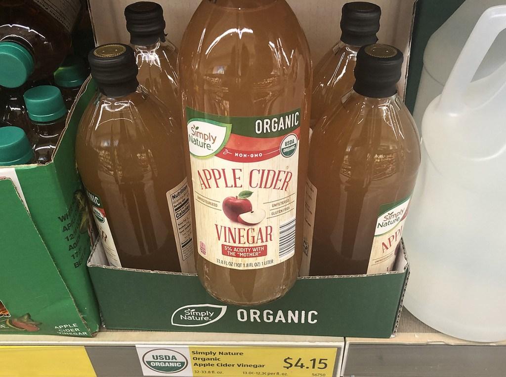 bottle of apple cider vinegar on shelf