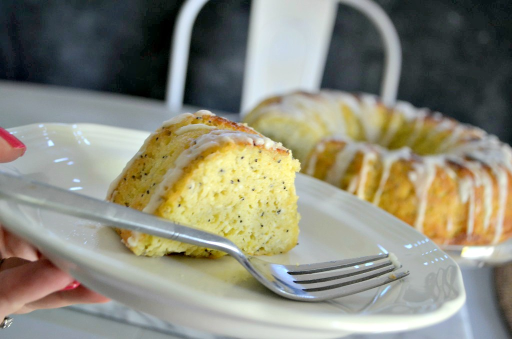 Keto Poppy Seed Lemon Bundt Cake - served on a plate