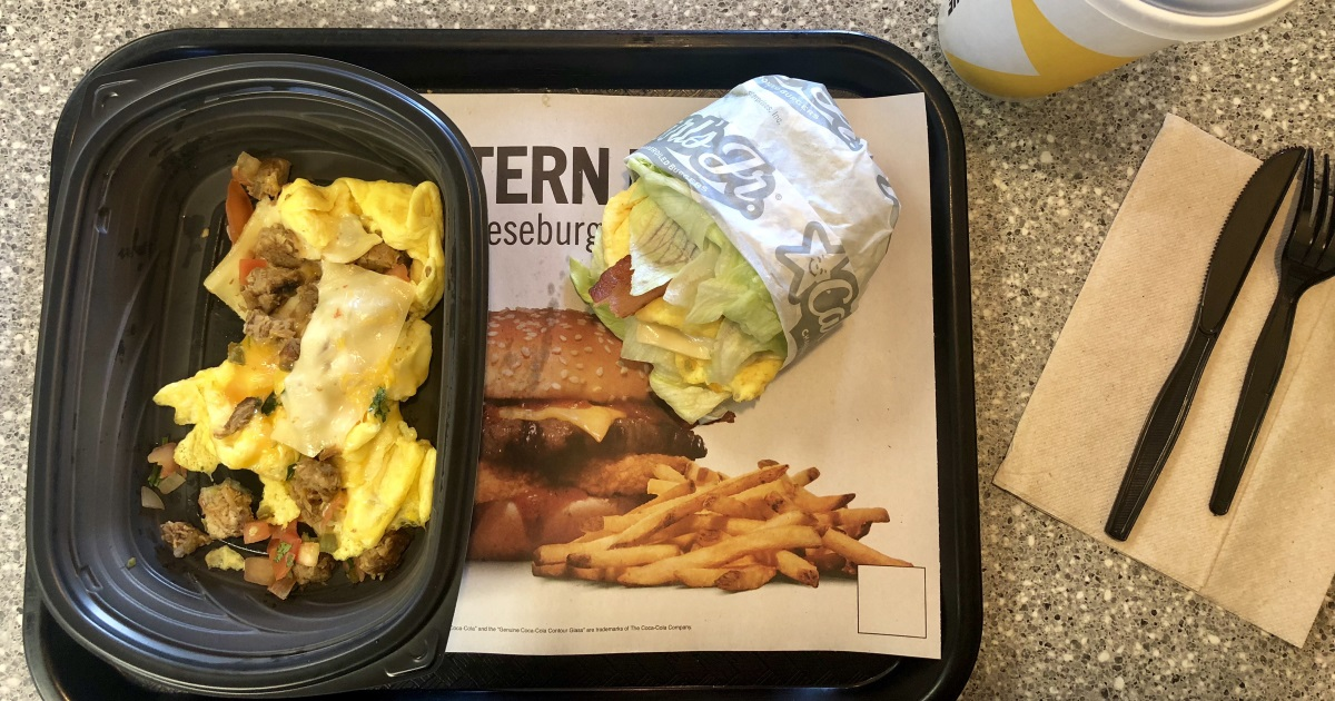 carls jr hardees keto dining guide. This is the Carl's Jr steak burrito and the monster biscuit