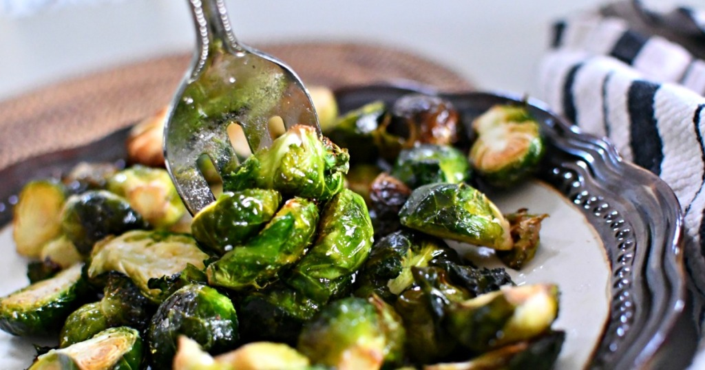 brussels sprouts on a fork