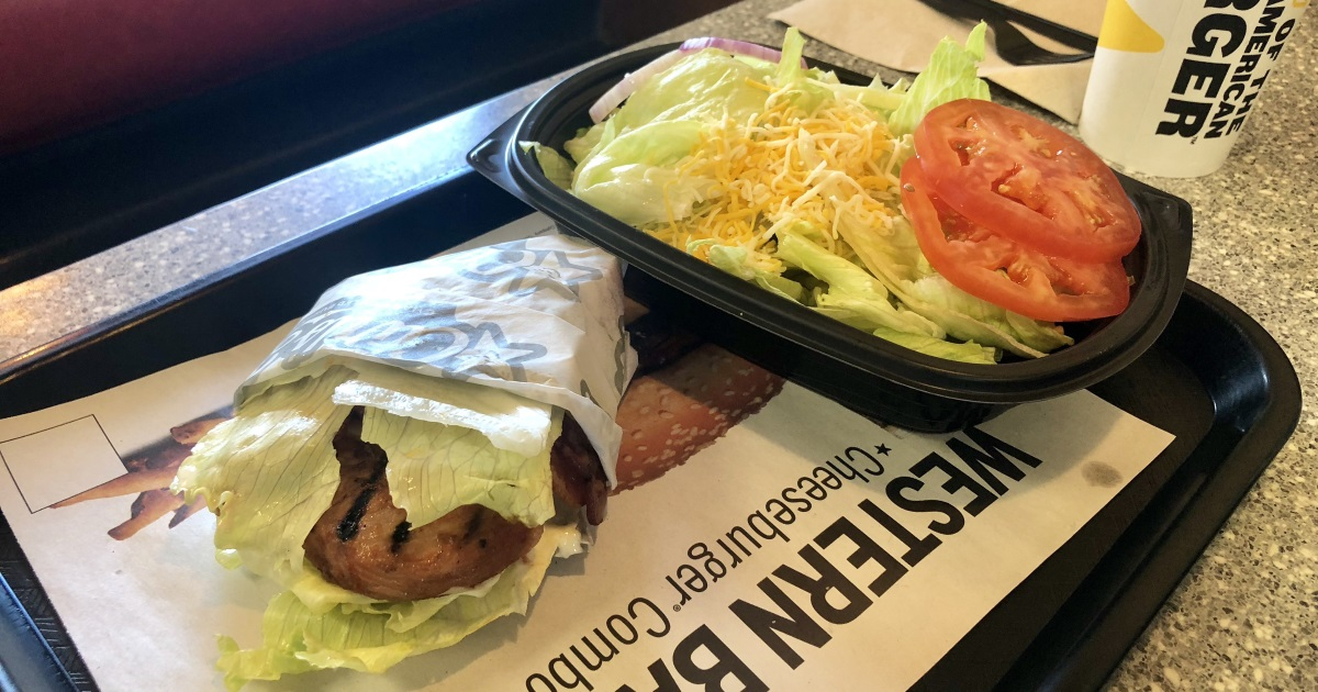 carls jr hardees keto dining guide – grilled chicken sandwich and side salad