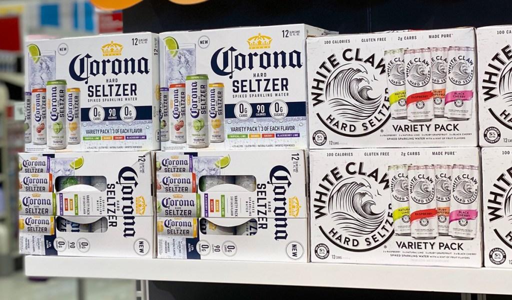 corona and white claw seltzer sitting on shelf