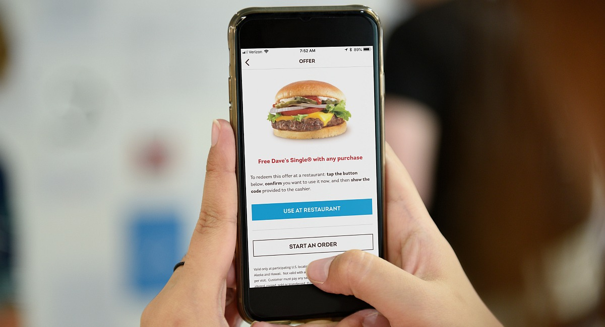 free dave's single burger with purchase at wendy's when you download their app - pictured