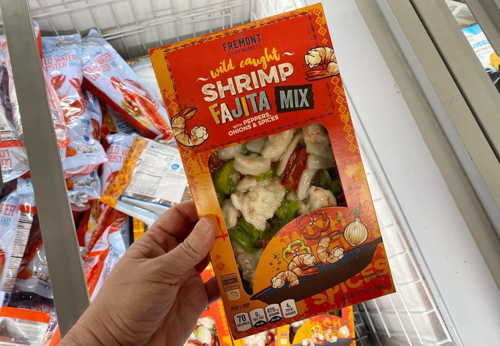 hand holding Fremont Fish Market Shrimp Fajita Mix
