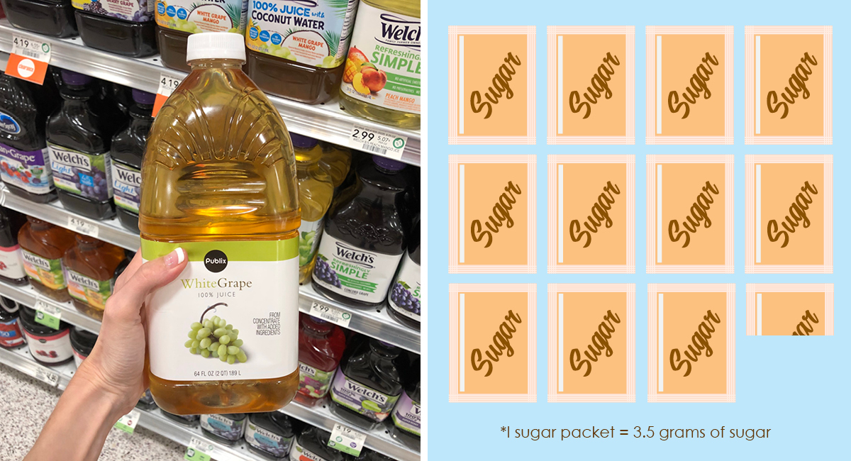 foods with hidden sugar and keto options — publix grape juice sugar packet comparison