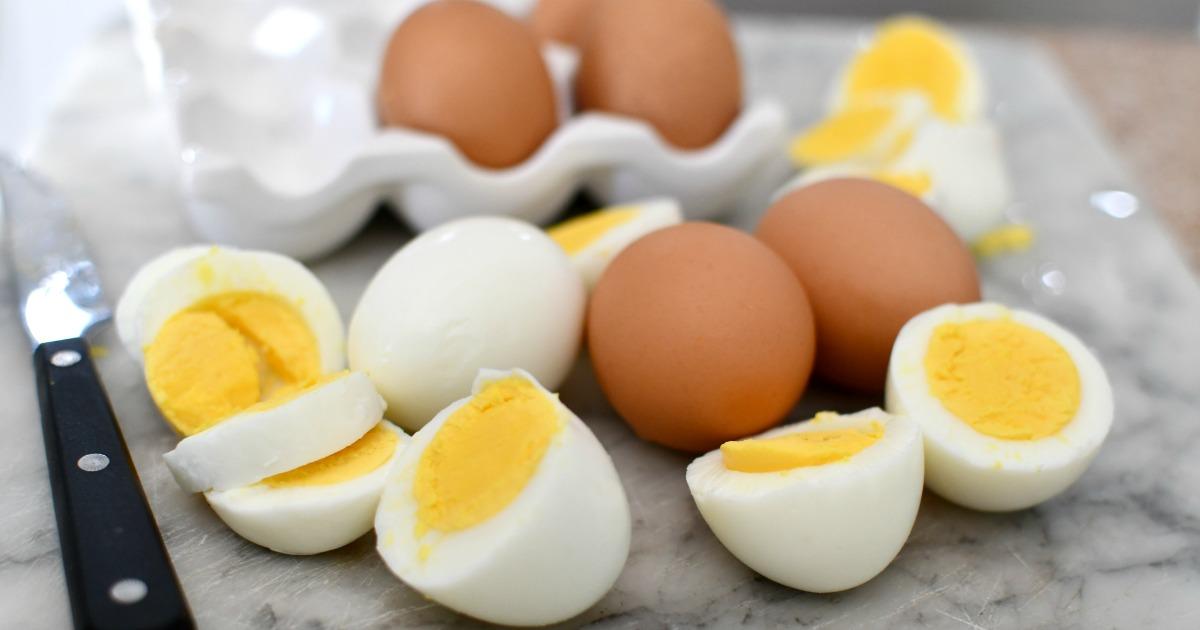hard-boiled eggs on a cutting board
