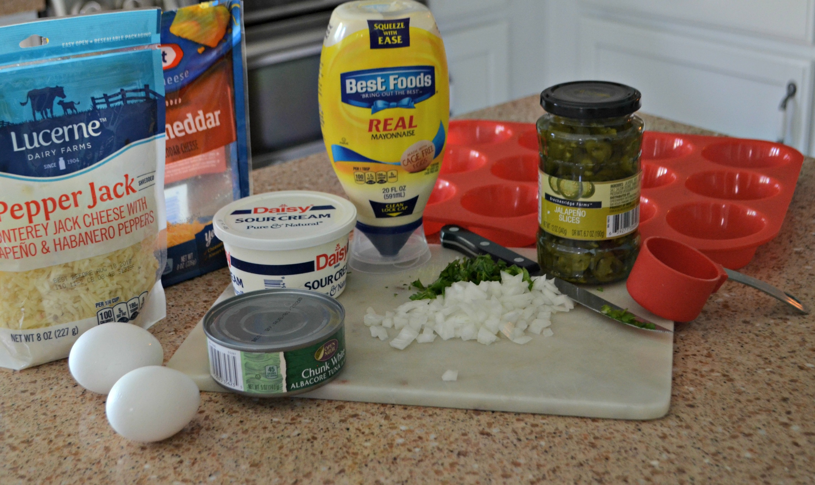 Spicy Keto Tuna Melt Cups - ingredients on the counter