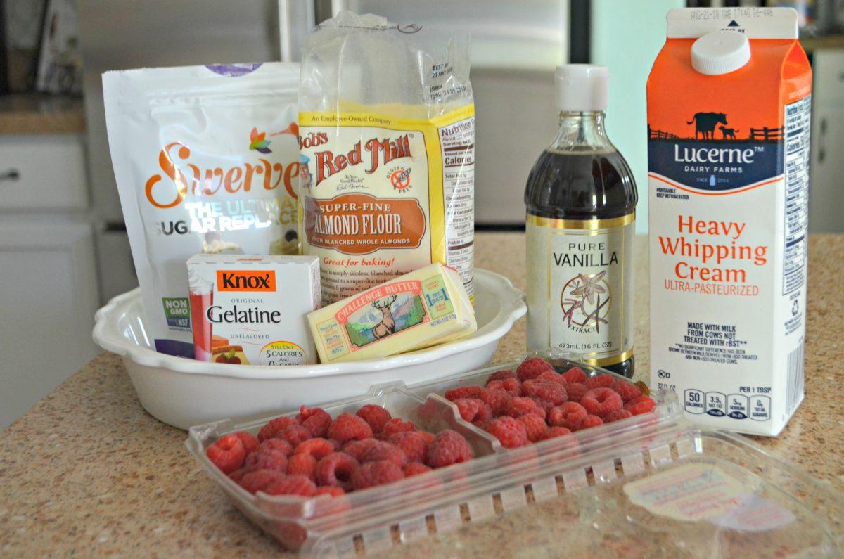 keto raspberry cream pie – ingredients on the counter
