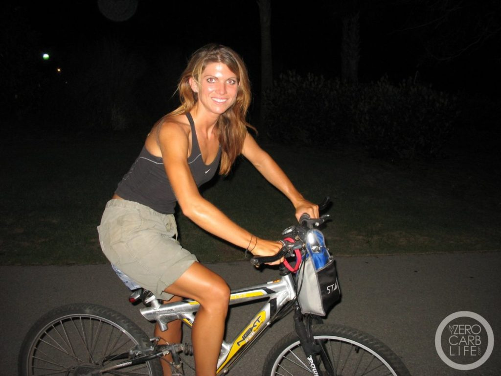 woman on carnivore diet riding a bike