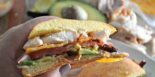 Chicken Bacon and Avocado Sandwich on a Keto Roll