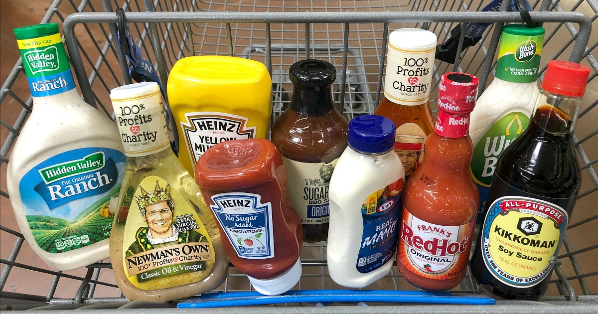 best keto friendly condiments – various low-carb and keto condiments in a cart