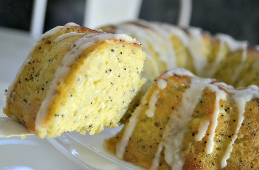 Keto Poppy Seed Lemon Bundt Cake - close up