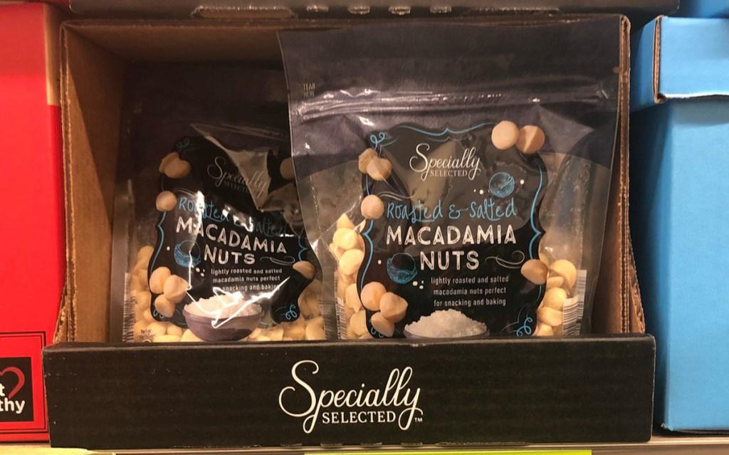 best keto finds at aldi - bag of macadamia nuts on shelf
