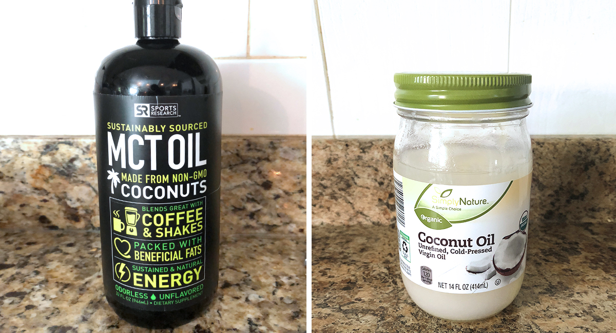 keto mct oil supplements – side by side of mct oil and coconut oil