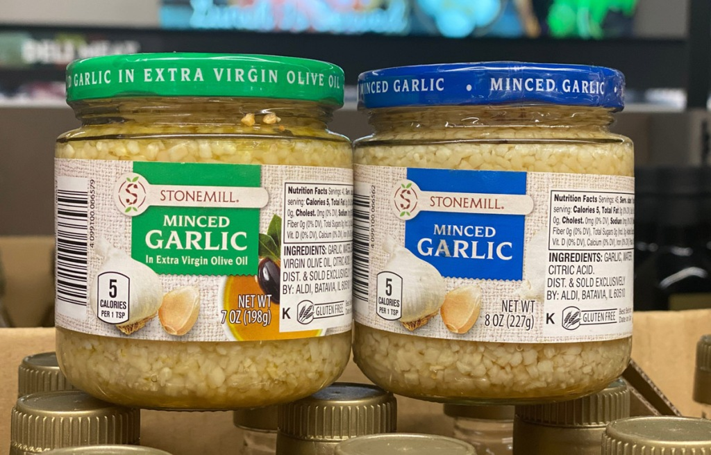 two jars of minced garlic