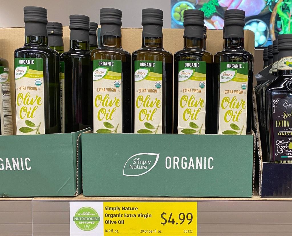 bottles of organic olive oil - best keto finds at aldi
