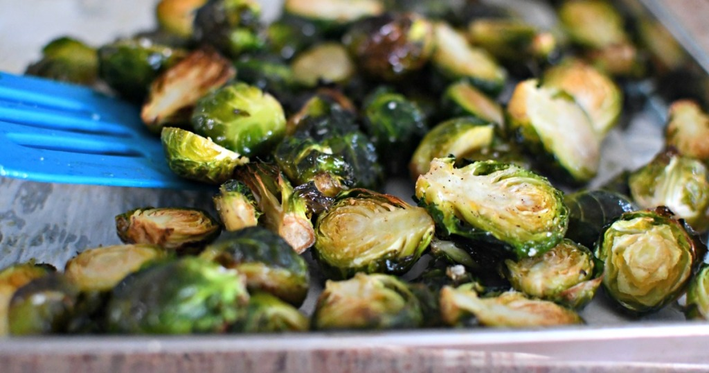 roasted brussels sprouts on a sheet pan