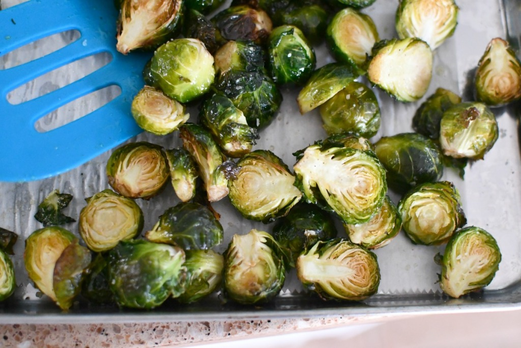 roasted russels sprouts out of the oven
