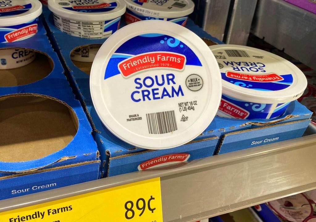 sour cream on shelf