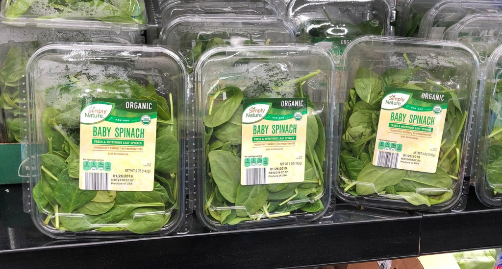 packs of organic spinach