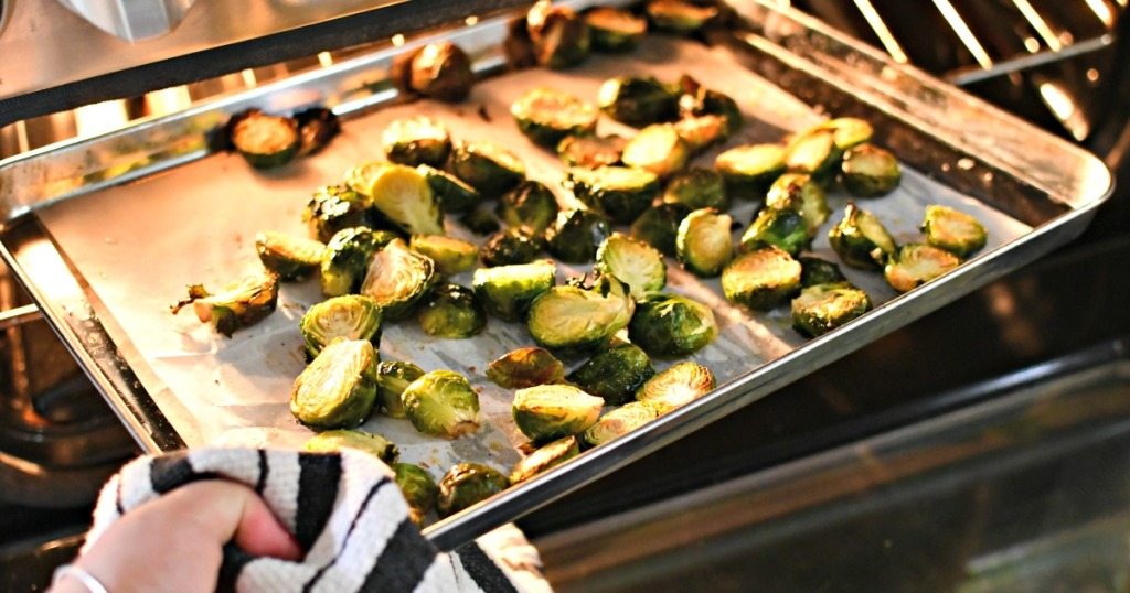 taking brussels sprouts out of oven