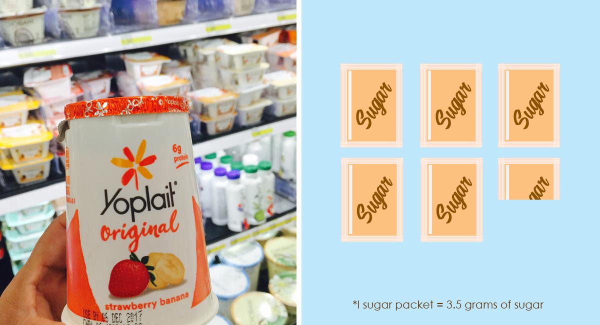 foods with hidden sugar and keto options — yoplait yogurt sugar packet comparison