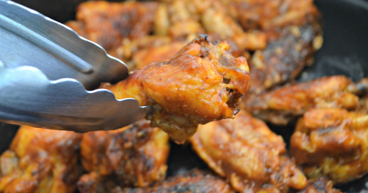 Keto Slow Cooker Buffalo BBQ Wings - closeup of the finished wings