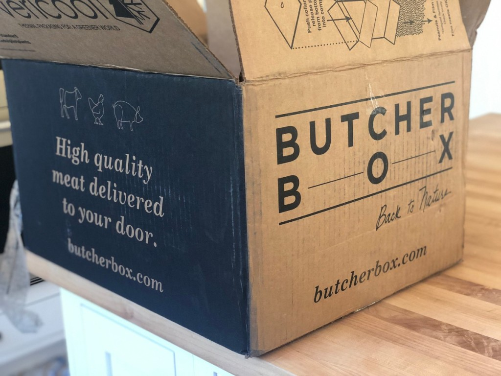 butcher box delivery box on kitchen counter