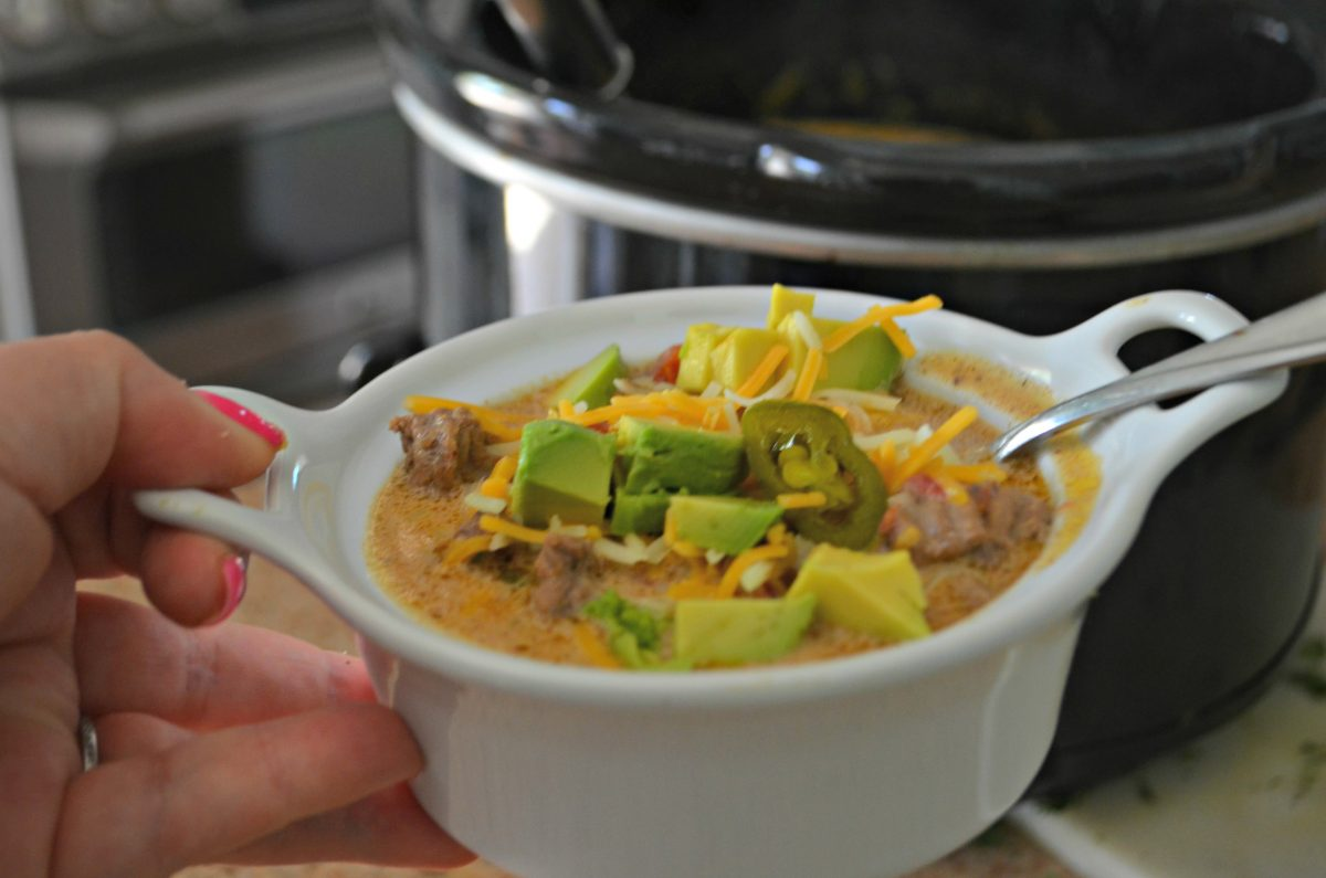 slow cooker keto taco soup - served up in a small bowl