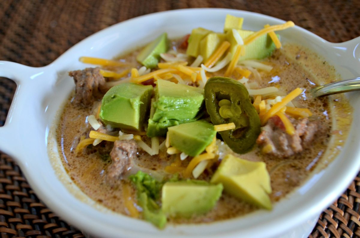 slow cooker keto taco soup -closeup of the soup in a bowl
