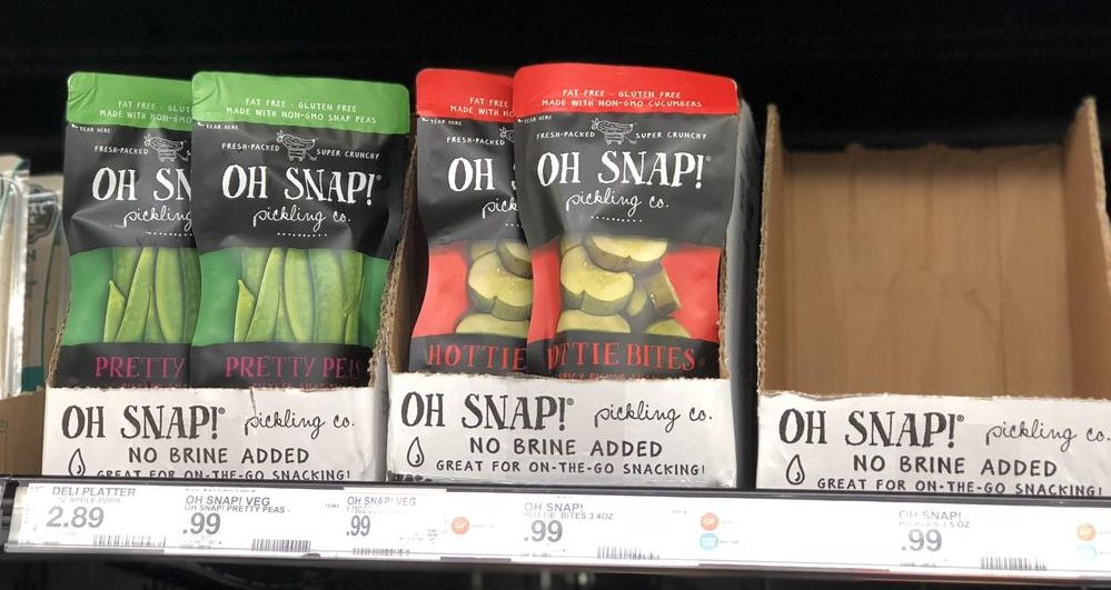 OH SNAP! Veggies at Target like these pickles and snap peas on the shelf are a great keto treat